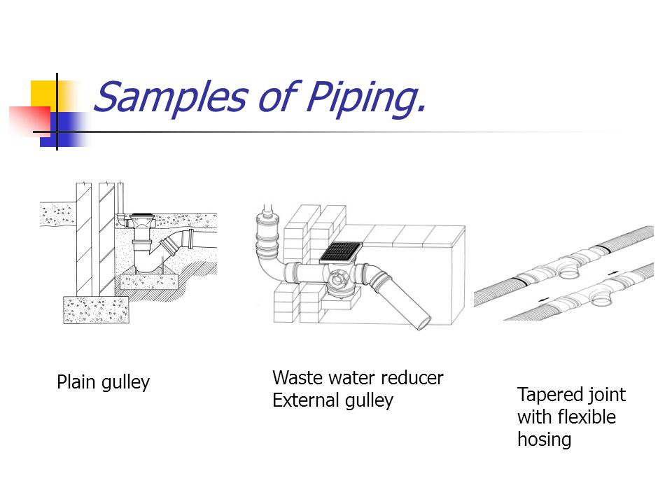 Samples of Piping. Waste water reducer Plain gulley External gulley