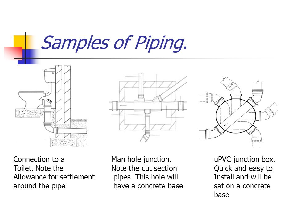 Samples of Piping. Connection to a Toilet. Note the