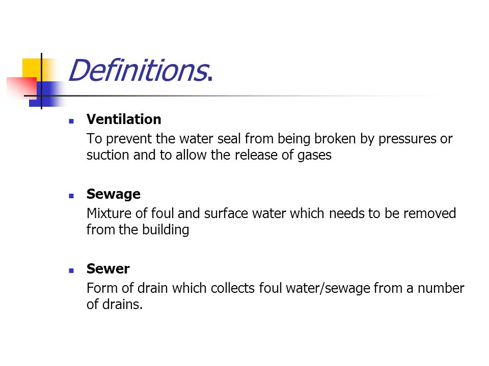 Definitions. Ventilation