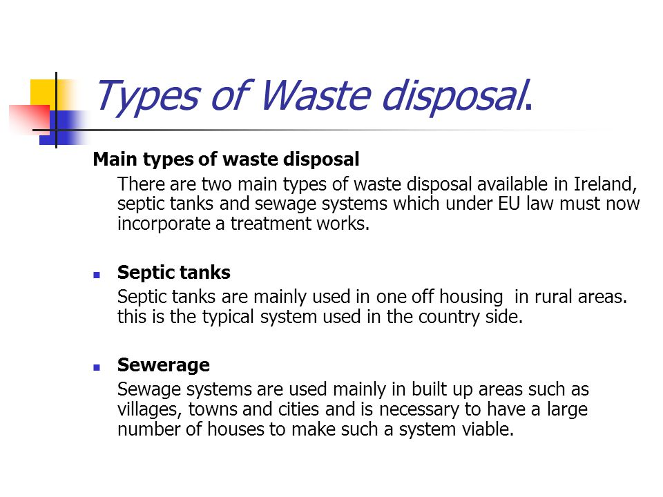 Types of Waste disposal.