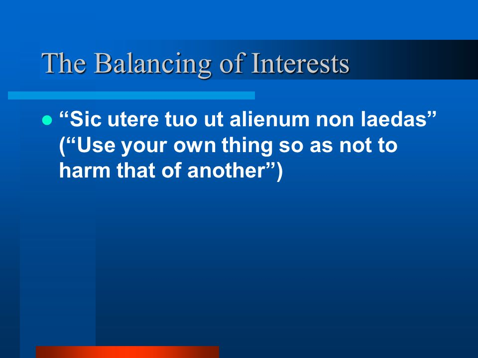 The Balancing of Interests