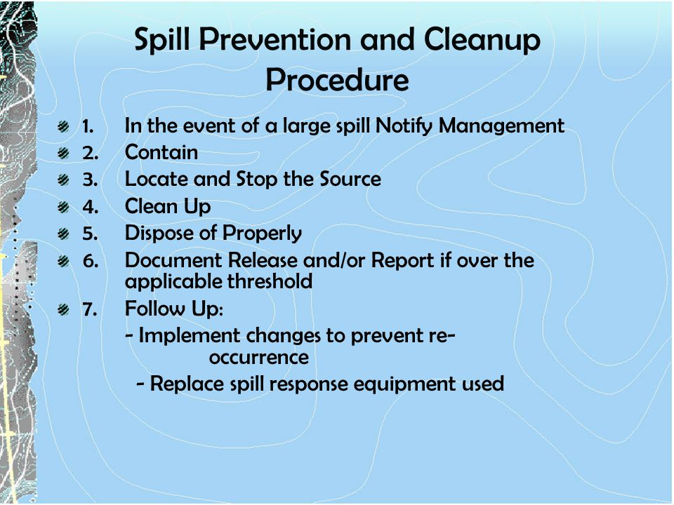 Spill Prevention and Cleanup Procedure