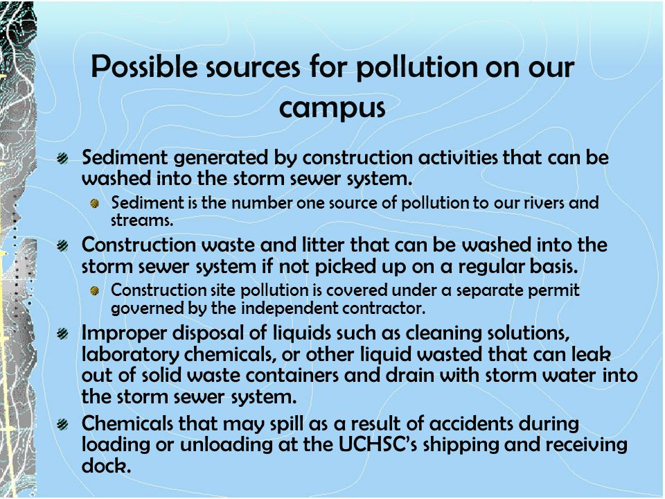 Possible sources for pollution on our campus
