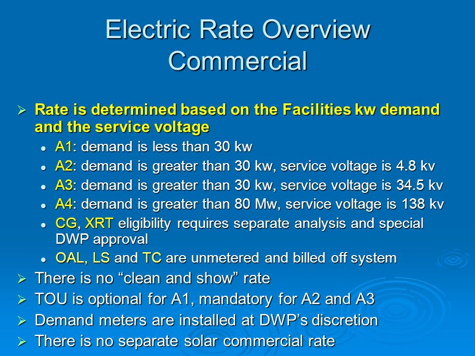 Electric Rate Overview Commercial
