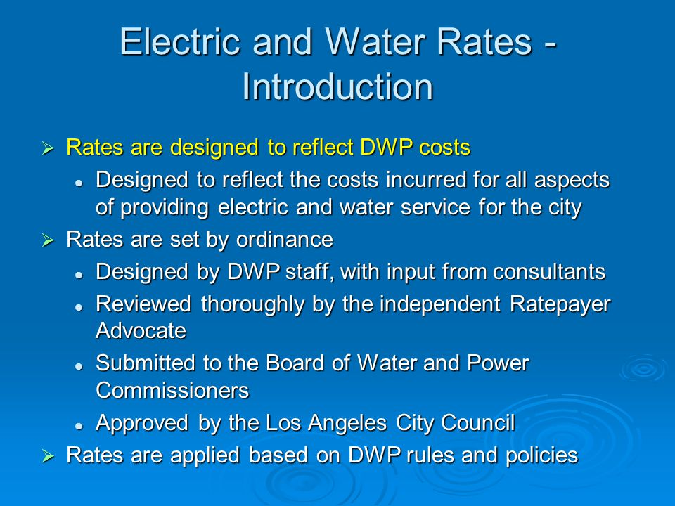 Electric and Water Rates - Introduction