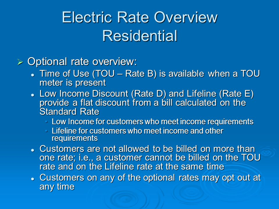 Electric Rate Overview Residential