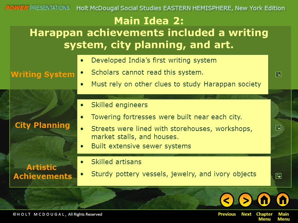 Main Idea 2: Harappan achievements included a writing system, city planning, and art.