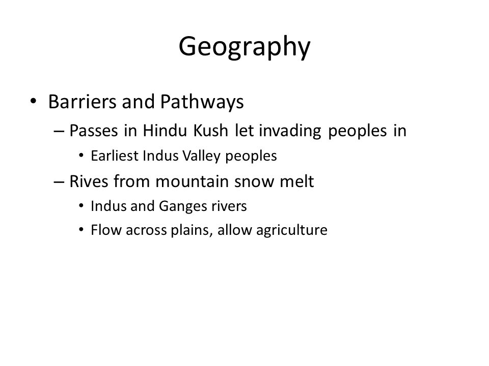 Geography Barriers and Pathways