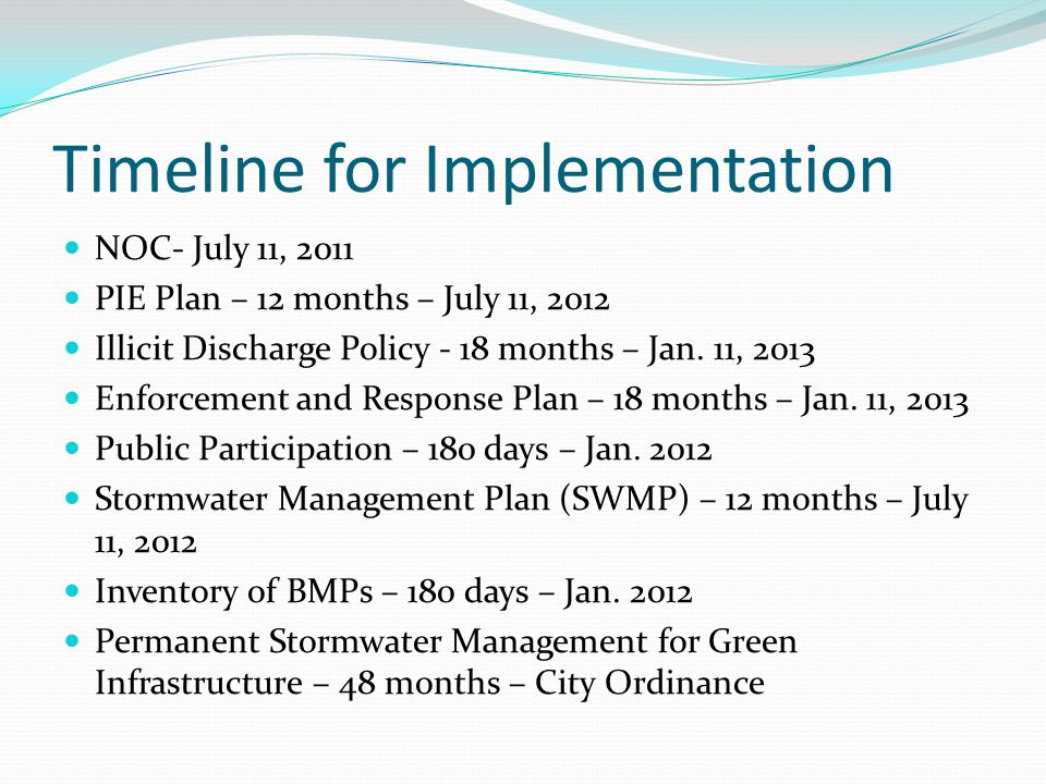 Timeline for Implementation