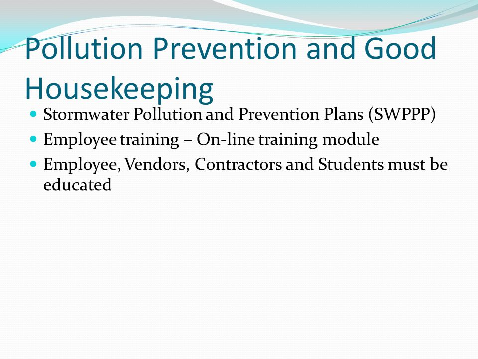 Pollution Prevention and Good Housekeeping