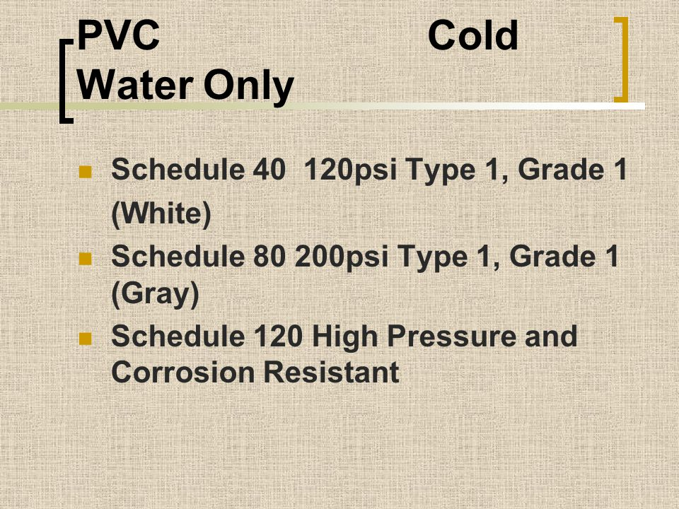PVC Cold Water Only Schedule 40 120psi Type 1, Grade 1 (White)