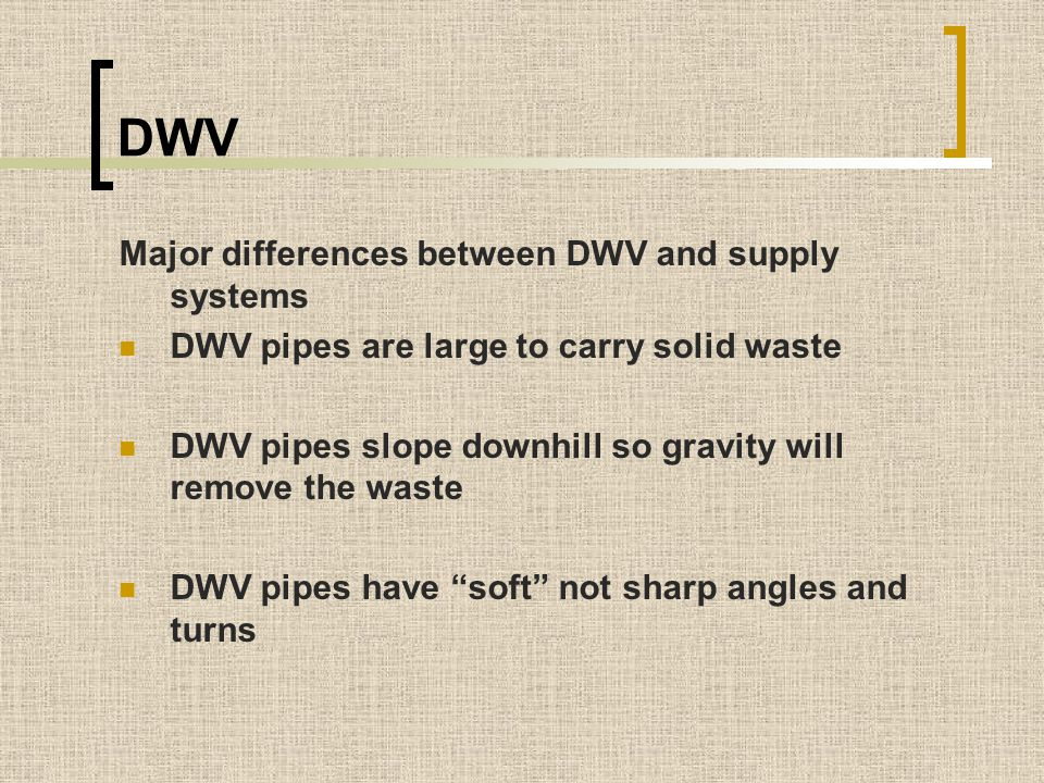 DWV Major differences between DWV and supply systems
