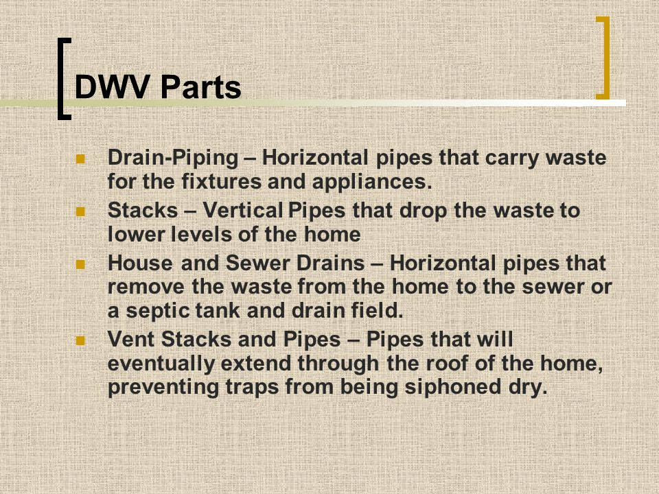 DWV Parts Drain-Piping – Horizontal pipes that carry waste for the fixtures and appliances.