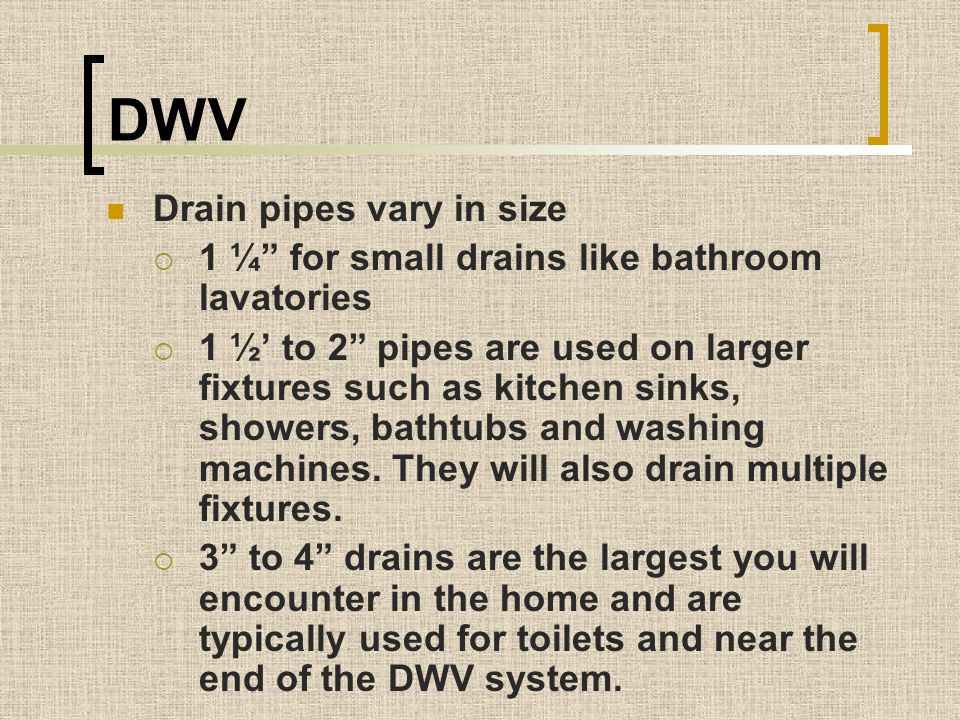 DWV Drain pipes vary in size