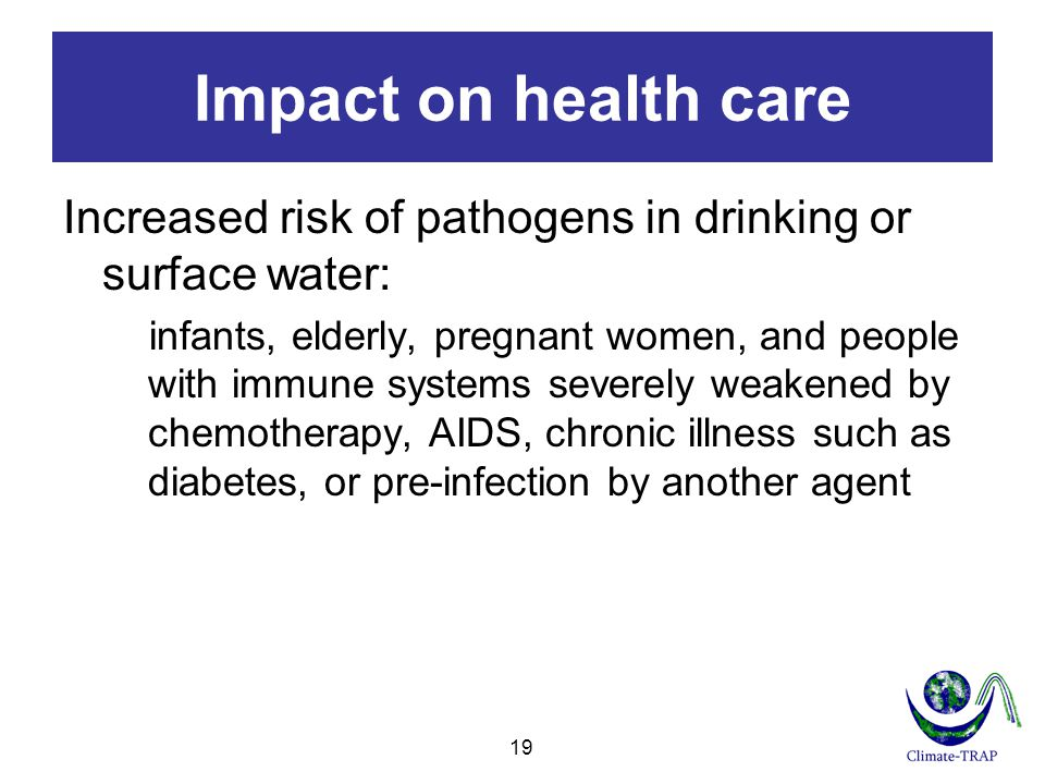 Impact on health care Increased risk of pathogens in drinking or surface water:
