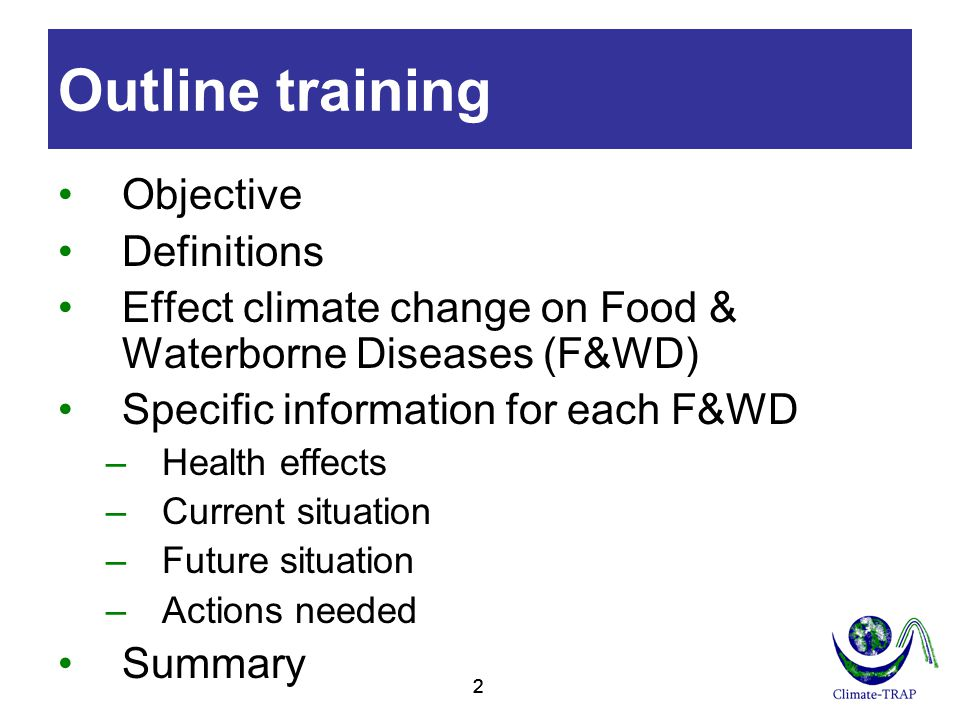 Outline training Objective Definitions