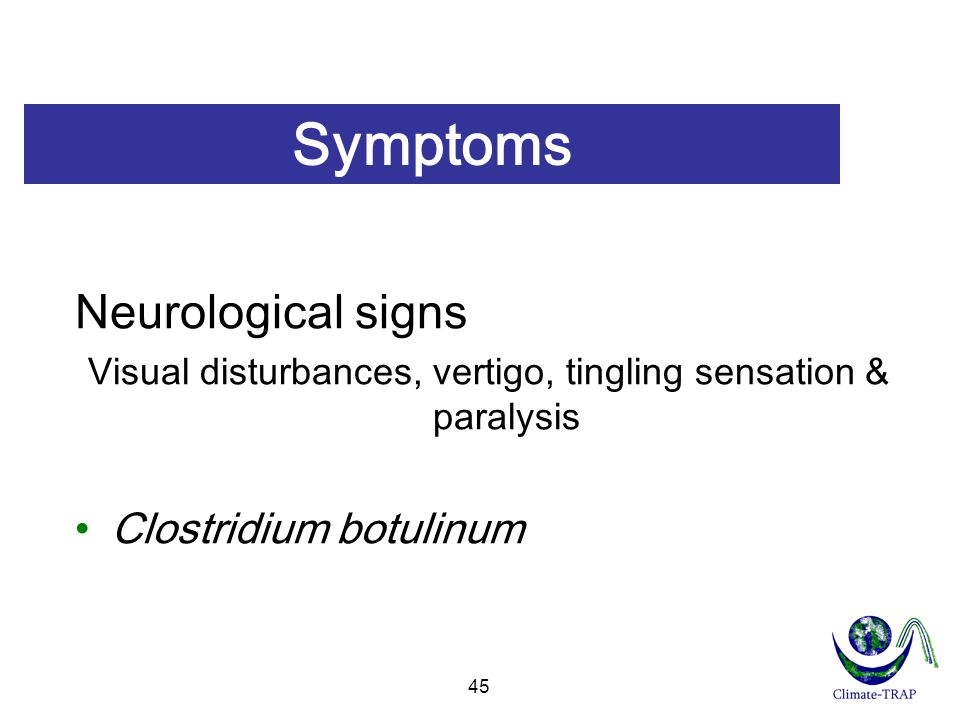 Visual disturbances, vertigo, tingling sensation & paralysis