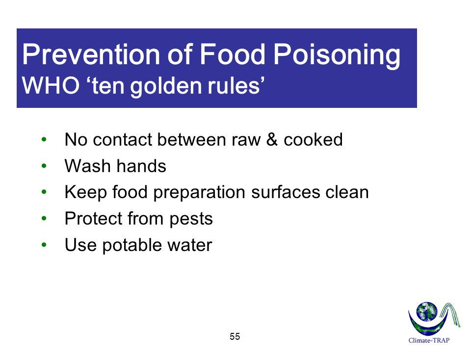 Prevention of Food Poisoning WHO 'ten golden rules'