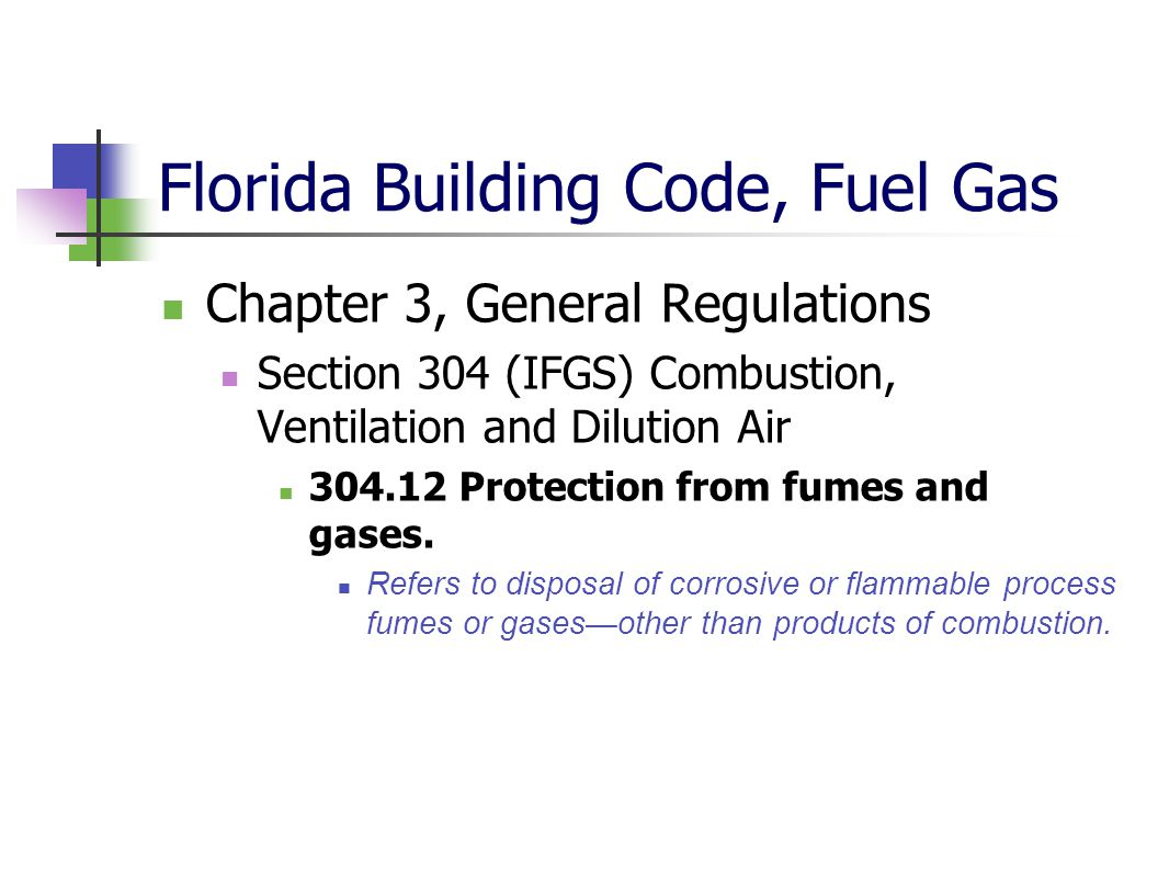 Florida Building Code, Fuel Gas