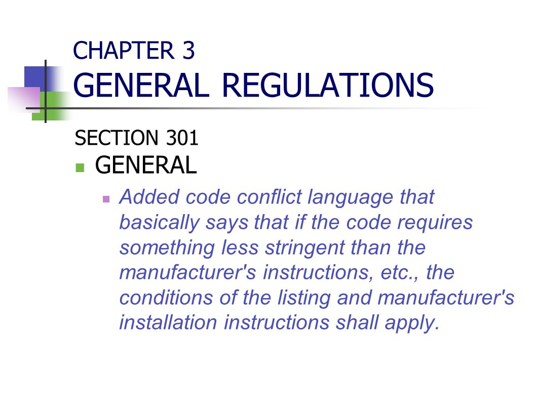CHAPTER 3 GENERAL REGULATIONS