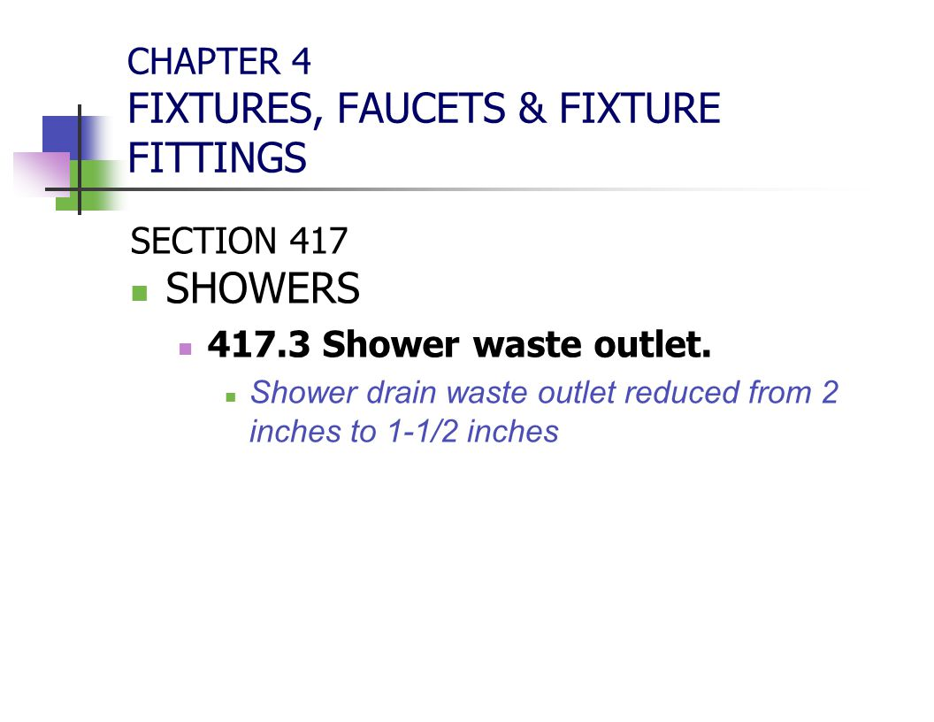 CHAPTER 4 FIXTURES, FAUCETS & FIXTURE FITTINGS
