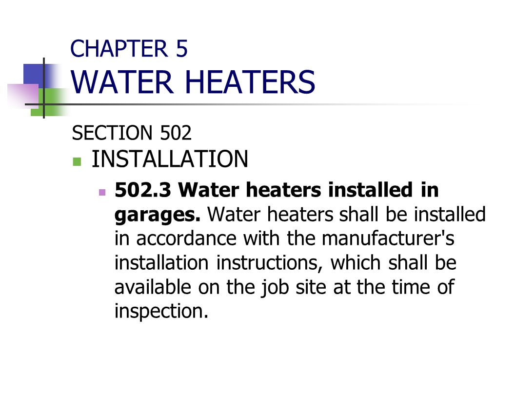 CHAPTER 5 WATER HEATERS INSTALLATION SECTION 502