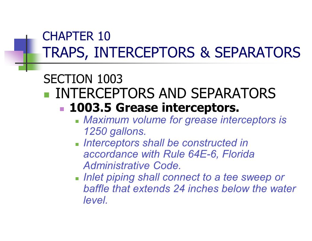 CHAPTER 10 TRAPS, INTERCEPTORS & SEPARATORS