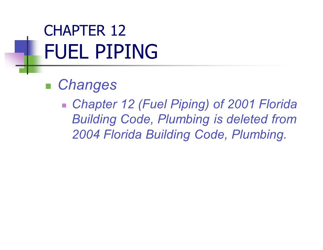 CHAPTER 12 FUEL PIPING Changes