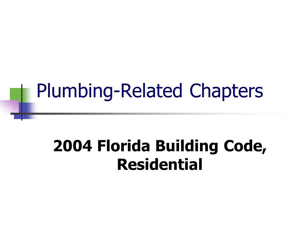 Plumbing-Related Chapters