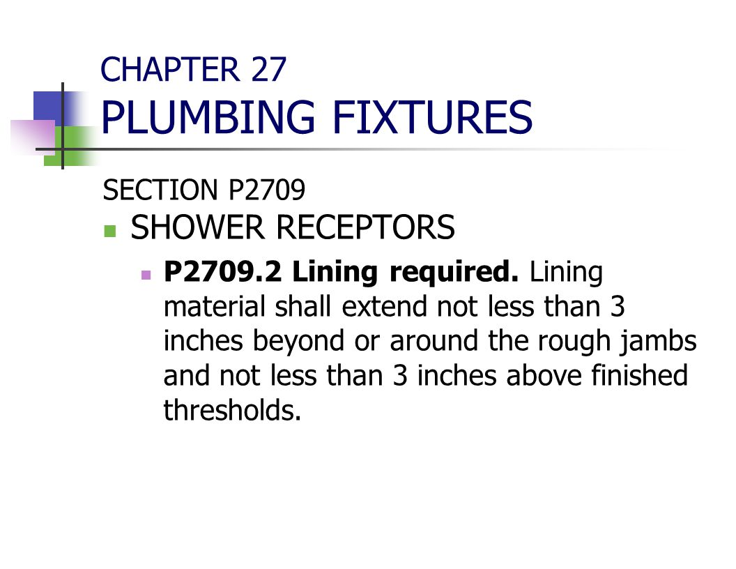 CHAPTER 27 PLUMBING FIXTURES