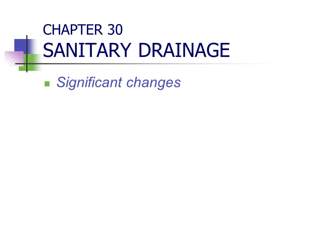 CHAPTER 30 SANITARY DRAINAGE