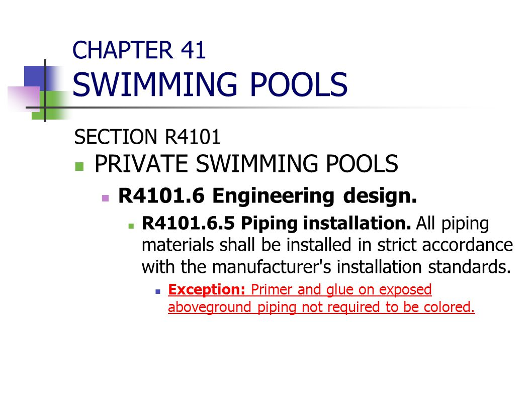 CHAPTER 41 SWIMMING POOLS