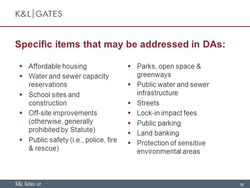 Specific items that may be addressed in DAs: