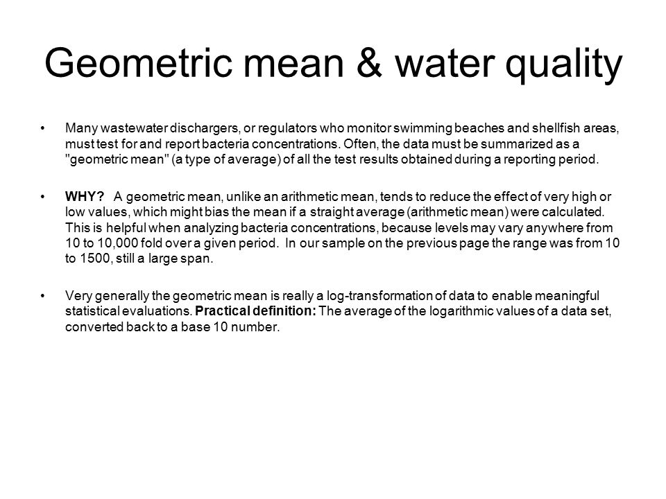 Geometric mean & water quality