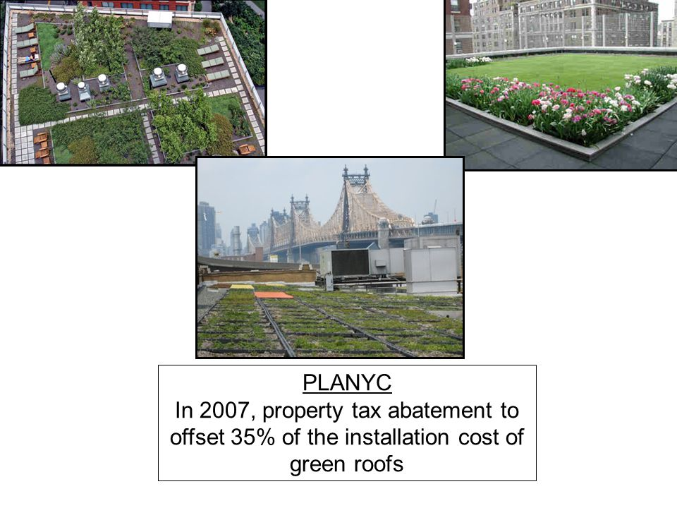 PLANYC In 2007, property tax abatement to offset 35% of the installation cost of green roofs