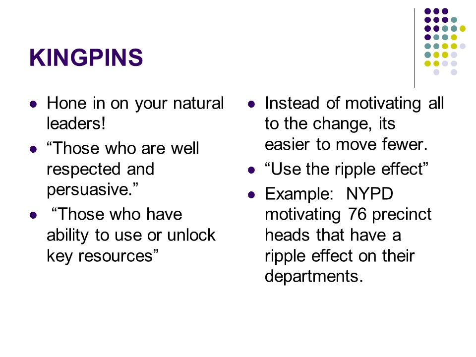 KINGPINS Hone in on your natural leaders!