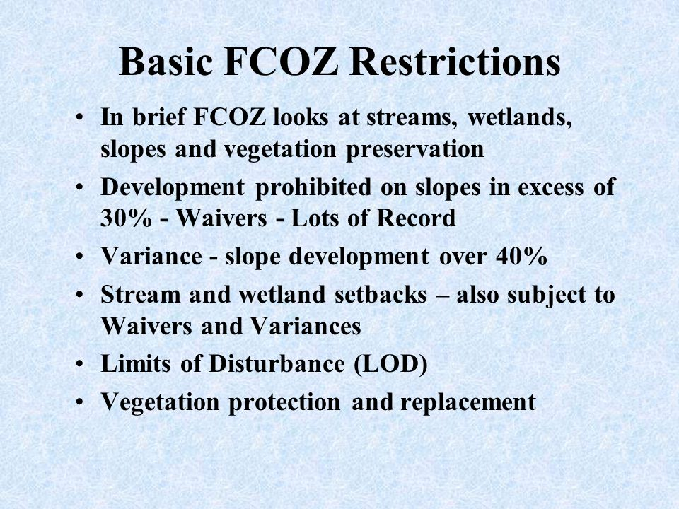 Basic FCOZ Restrictions