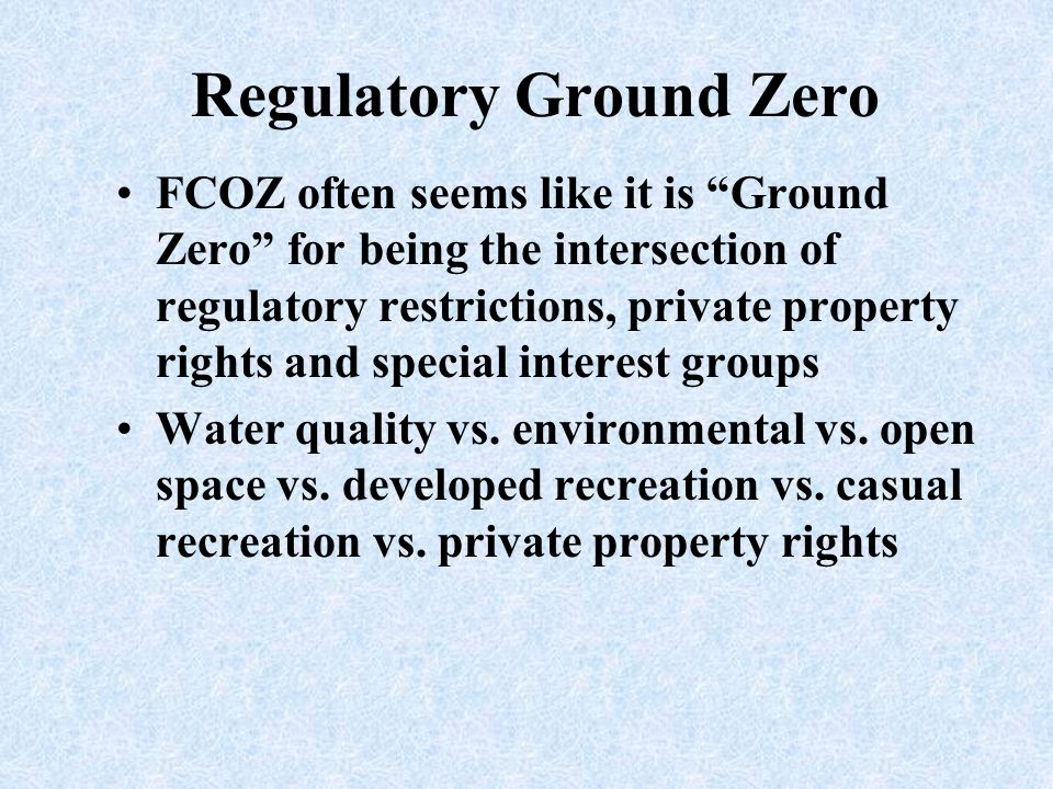 Regulatory Ground Zero