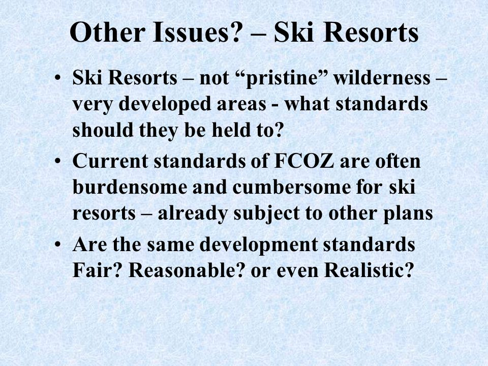 Other Issues – Ski Resorts