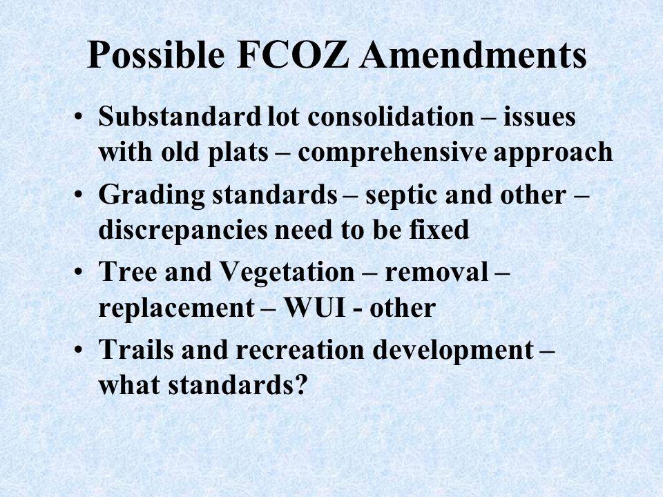 Possible FCOZ Amendments