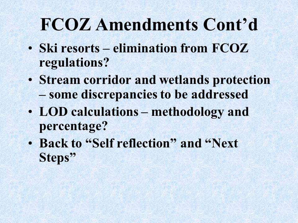 FCOZ Amendments Cont'd
