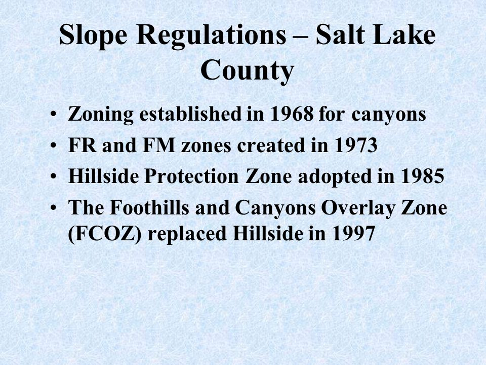 Slope Regulations – Salt Lake County