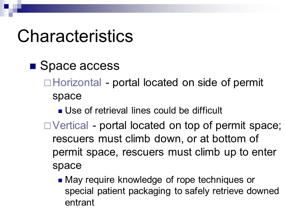 Characteristics Space access