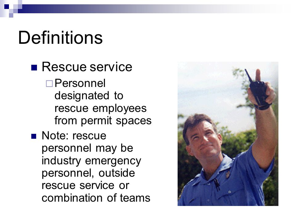 Definitions Rescue service