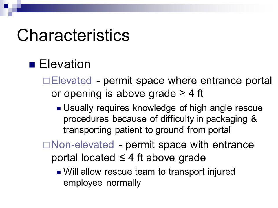 Characteristics Elevation