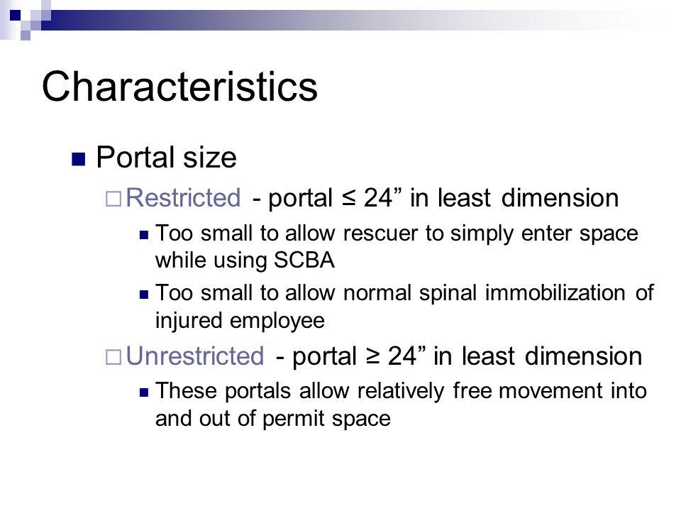 Characteristics Portal size