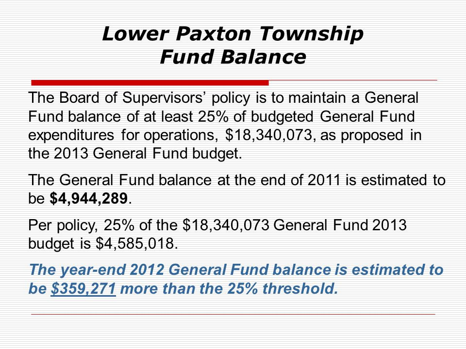 Lower Paxton Township Fund Balance