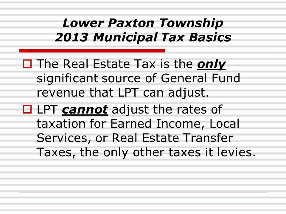 Lower Paxton Township 2013 Municipal Tax Basics