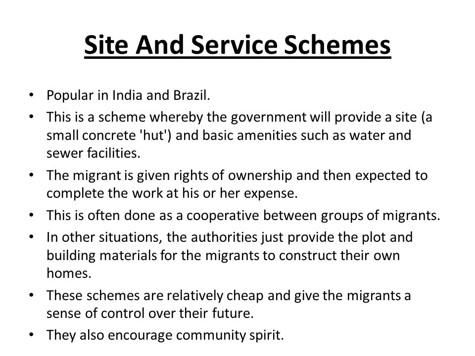Site And Service Schemes