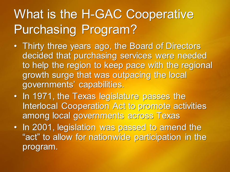 What is the H-GAC Cooperative Purchasing Program